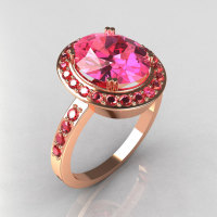 Exclusive Victorian 10K Rose Gold 3.0 ct Oval and 30 x .015 Round 0.45 ctw Rose Topaz Ring R72-RGDRT-1
