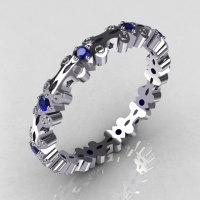 Modern 14K White Gold Blue Sapphire Eternity Designer Ring Y244-14KWGBS-1