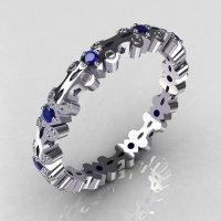 Modern 14K White Gold Blue Sapphire Eternity Designer Ring Y244-14KWGBS-1