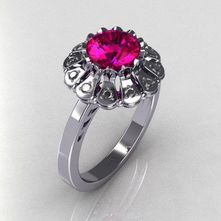 Modern Vintage 18K White Gold 1.0 CT Round Pink Sapphire 0.24 CTW Diamond Flower Ring JK17-18WGDPS-1