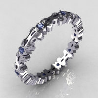 Modern 10K White Gold Blue Topaz Eternity Designer Ring Y244-10KWGBT-1