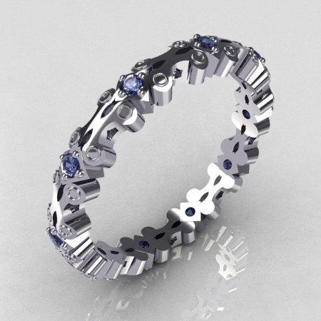 Modern 10K White Gold Blue Topaz Eternity Designer Ring Y244-10KWGBT-1