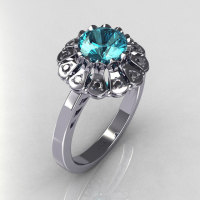 Modern Vintage 14K White Gold 1.0 CT Round Aquamarine 0.24 CTW Diamond Flower Ring JK17-14WGDAQ-1
