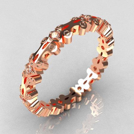 Modern 14K Rose Gold 10 Round 0.02ct (0.20 ctw) White Diamond Eternity Designer Ring Y244-14KRGDD-1