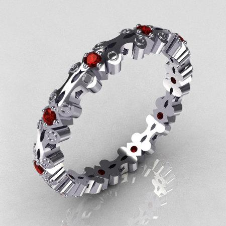 Modern 14K White Gold Red Garnet Eternity Designer Ring Y244-14KWGRG-1