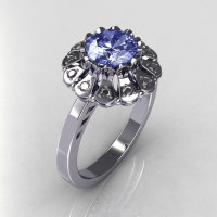 Modern Vintage 14K White Gold 1.0 CT Round Blue Topaz 0.24 CTW Diamond Flower Ring JK17-14WGDBT-1