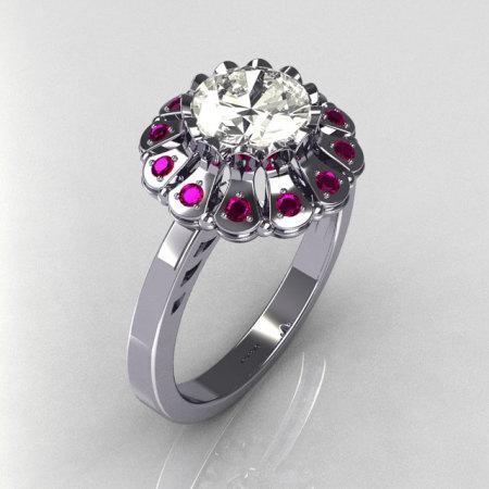 Modern Vintage 14K White Gold 1.0 carat Round and .24 carat Pink Sapphire Flower Ring JK17-14WGCZPS-1