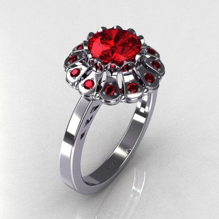 Modern 18K White Gold 1.0 ct Round and ct 0.24 CTW Red Garnet Flower Ring JK17-18WGRG-1