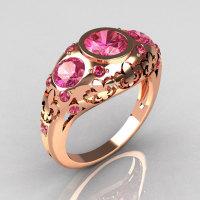 Modern French Vintage 18K Rose Gold Three Stone Rose Topaz Designer Ring Y252-18RGRT-1