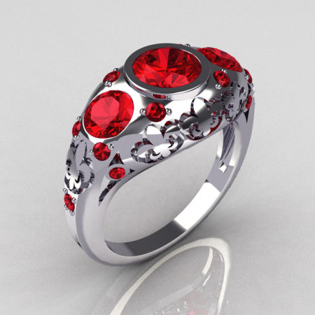 Modern French Vintage 10K White Gold Three Stone Red Rubies Designer Ring Y252-10WGRR-1
