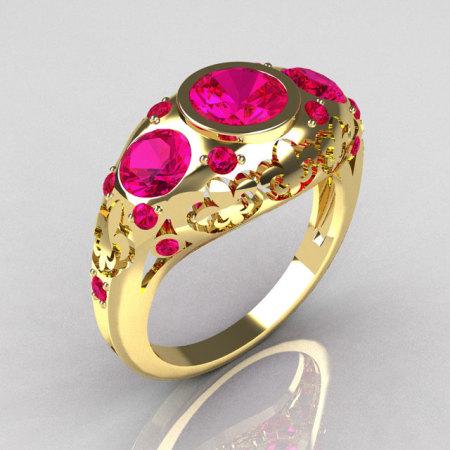 Modern French Vintage 14K Yellow Gold Three Stone Pink Sapphire Designer Ring Y252-14YGRPS-1