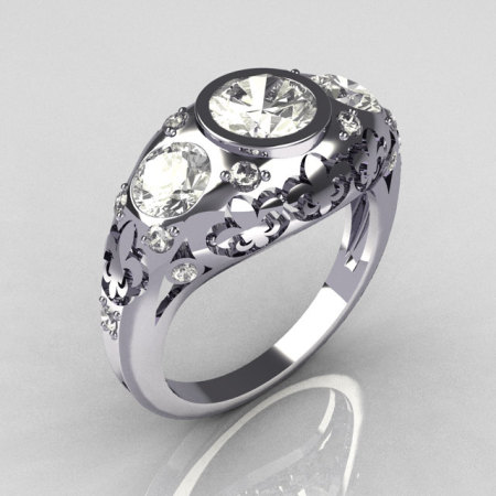 Modern French Vintage 950 Platinum Three Stone CZ Pave Diamond Bridal Ring Y252-PLATDCZ-1