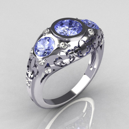 Modern French Vintage 950 Platinum Three Stone Blue Topaz Pave Diamond Bridal Ring Y252-PLATDBT-1