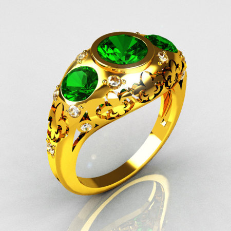 Modern French Vintage 22K Yellow Gold Three Stone Emerald Pave Diamond Bridal Ring Y252-22KYGDE-1