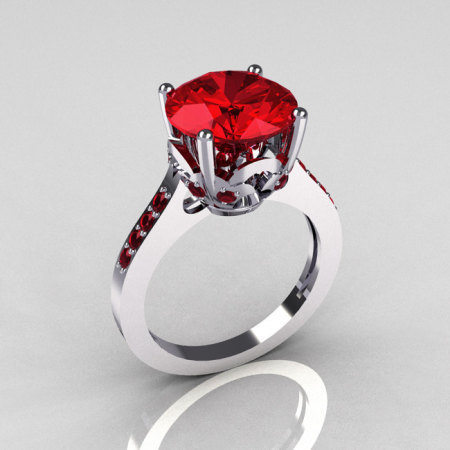 14K White Gold 3.5 Carat Red Rubies Solitaire Wedding Ring R301-14KWGRR-1
