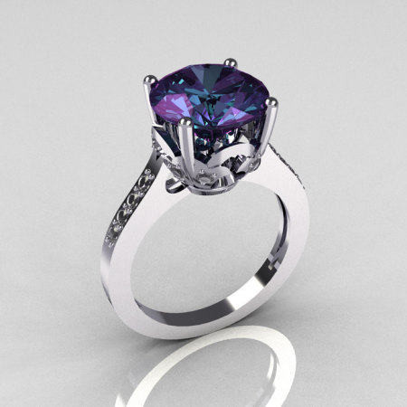 Classic 950 Platinum 3.5 Carat Alexandrite Pave Diamond Solitaire Wedding Ring R301-PLATDAL-1