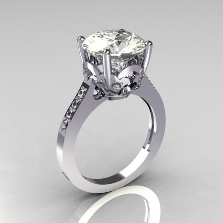 Classic 14K White Gold 3.5 Carat White Sapphire CZ Diamond Solitaire Wedding Ring R301-14WGDCZ-1