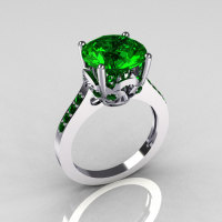 Classic 14K White Gold 3.5 Carat Emerald Solitaire Wedding Ring R301-14KWGEM-1