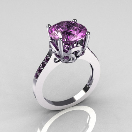Classic 14K White Gold 3.5 Carat Lilac Amethyst Solitaire Wedding Ring R301-14KWGLA-1