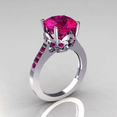 Classic 14K White Gold 3.5 Carat Pink Sapphire Solitaire Wedding Ring R301-14KWGPS-1