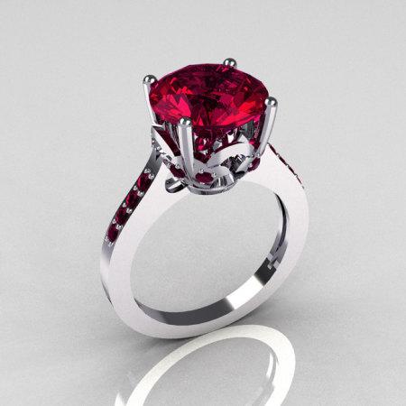 14K White Gold 3.5 Carat Rhodolite Raspberry Red Garnet Solitaire Wedding Ring R301-14KWGRG-1