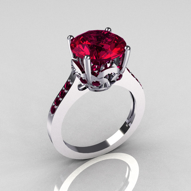 37c44e623546f 14K White Gold 3.5 Carat Rhodolite Raspberry Red Garnet Solitaire Wedding  Ring R301-14KWGRG