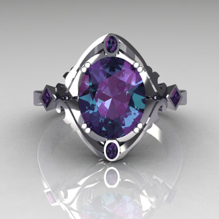 Modern Antique 950 Platinum 1.75 Carat Oval Alexandrite Wedding Ring R73-PLATAL-1