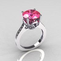 Classic 950 Platinum 3.5 Carat Rose Topaz Pave Diamond Solitaire Wedding Ring R301-PLATDRT-1