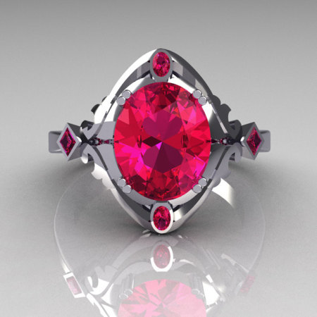 Modern Antique 950 Platinum 1.75 Carat Oval Pink Sapphire Wedding Ring R73-PLATPS-1