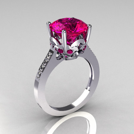 French Bridal 950 Platinum 3.5 Carat Pink Sapphire Pave Diamond Solitaire Wedding Ring R301-PLATDPS-1