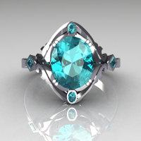 Modern Antique 950 Platinum 1.75 Carat Oval Aquamarine Wedding Ring R73-PLATAQ-1