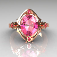 Modern Classic 14K Rose Gold 1.75 Carat Oval Rose Topaz Wedding Ring R73-14KRGRT-1