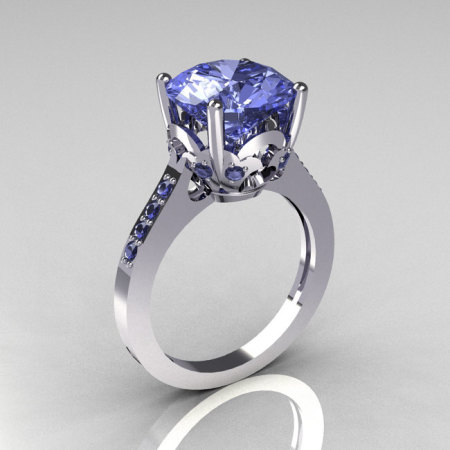French Bridal 10K White Gold 3.5 Carat Blue Topaz Solitaire Wedding Ring R301-10KWGBT-1