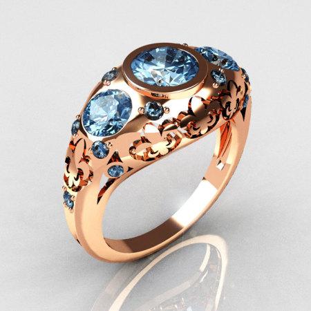Modern Vintage 14K Rose Gold Three Stone Blue Topaz Designer Ring Y252-14RGBT-1