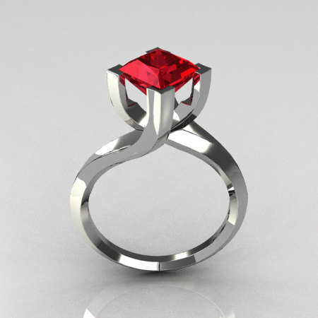 Modern 14K White Gold 1.25 Carat Princess Cut Red Ruby Designer Ring R74-14WGRR-1