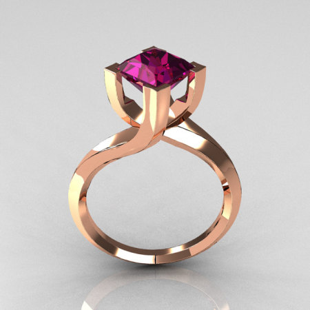 Modern 18K Rose Gold 1.25 Carat Princess Cut Amethyst Stone Designer Ring R74-18RGAM-1