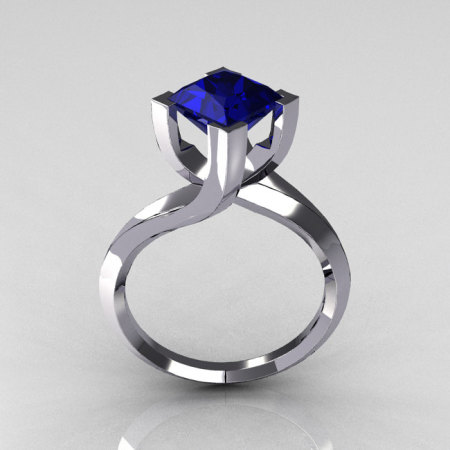Modern 10K White Gold 1.25 Carat Princess Cut Blue Sapphire Designer Ring R74-10WGBS-1