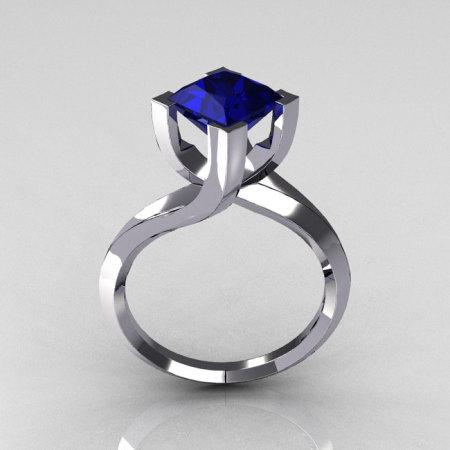 Modern 10K White Gold 1.25 Carat Princess Cut Blue Sapphire Designer Ring R74-10WGBS-1