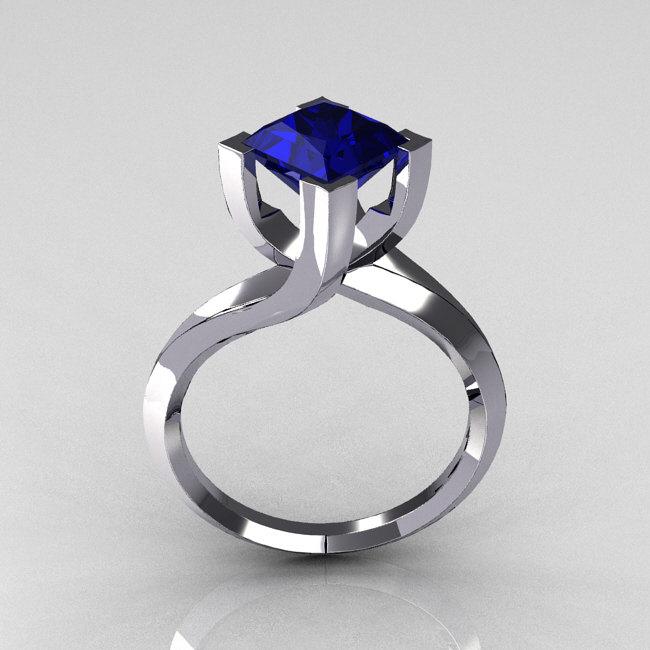 Modern 10K White Gold 25 Carat Princess Cut Blue Sapphire Designer