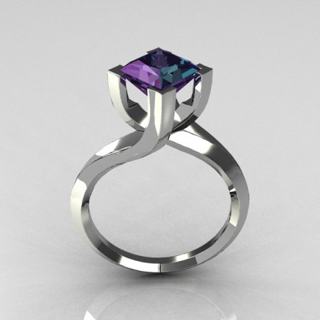 Modern 10K White Gold 1.25 Carat Princess Cut Alexandrite Designer Ring R74-10WGAL-1