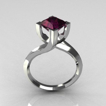 Modern 10K White Gold 1.25 Carat Princess Cut Amethyst Designer Ring R74-10WGAM-1
