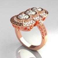 Modern Edwardian 18K Rose Gold 1.5 CTW Round Three Stone Zirconia Engagement Ring R75-18RGCZ-1