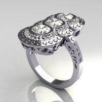 Modern Edwardian 950 Platinum 1.5 CTW Round Three Stone CZ Engagement Ring R75-PLATCZ-1