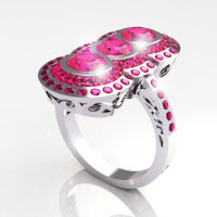 Modern Edwardian 950 Platinum 1.5 CTW Round Three Stone Pink Sapphire Engagement Ring R75-PLATPS-1