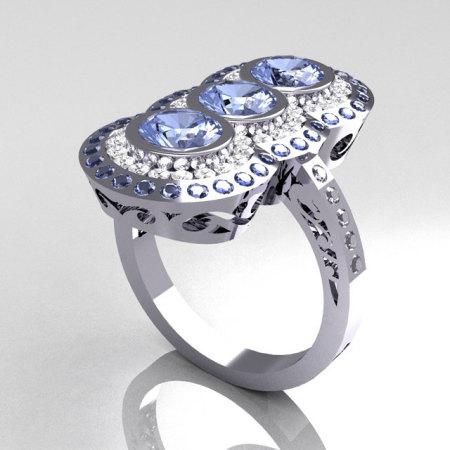 Modern Edwardian 14K White Gold 1.5 CTW Round Three Stone Blue Topaz CZ Engagement Ring R75-14WGCZBT-1