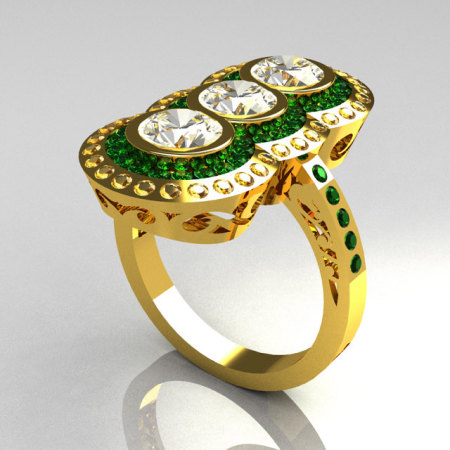 Modern Edwardian 22K Yellow Gold 1.5 CTW Round Three Stone Emerald CZ Engagement Ring R75-22YGCZEM-1