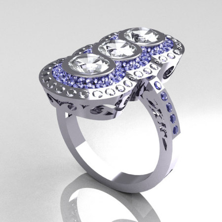 Elegant 10K 1.5 CTW Round Three Stone CZ and Blue Topaz Engagement Ring R75-10WGCZBT-1