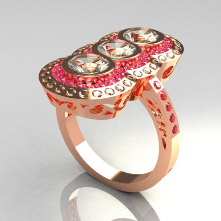 Exquisite 14K Rose Gold 1.5 CTW Round Three Stone CZ and  Rose Topaz Engagement Ring R75-14RGCZRT-1