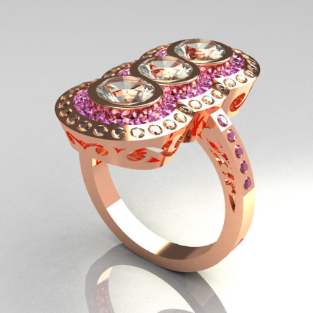 Exquisite 14K Rose Gold 1.5 CTW Round Three Stone CZ and  Lilac Amethyst Engagement Ring R75-14RGCZLA-1