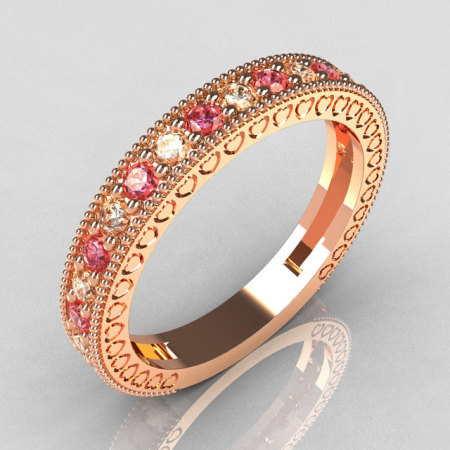 Lovables Luxury Collection 18K Rose Gold .27 ctw Diamond .24 ctw Rose Topaz Stackable Ring RB72-18KRGDRT-1